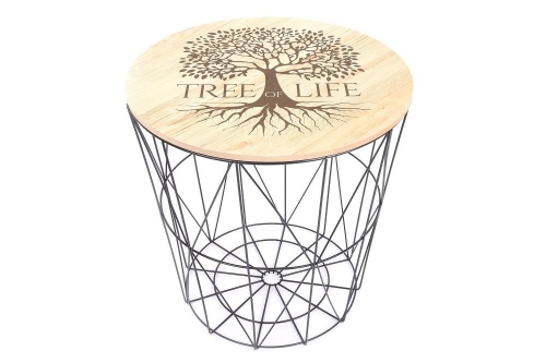 40x40Cm Round Tree of Life Side Table Black Metal Frame Home Office