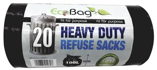 10Roll of 20 Heavy Duty Refuse Sacks Super Strong Black