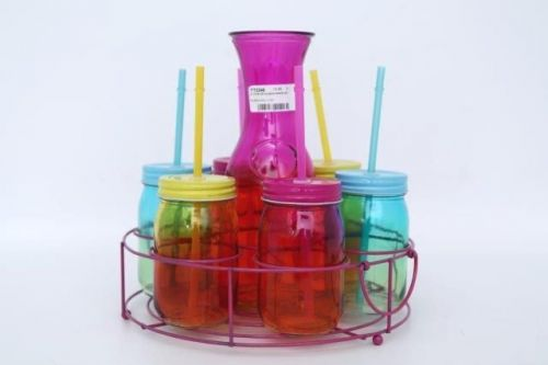 2 Toned Set Of 6 Glass Drinks Carafe Set Multi Colour Summer Theme Party Set With Caddy