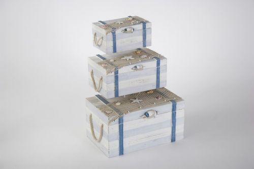Set of 3 Nautical Wood Boxes with Sailing Fishnet Sheashells Decoration