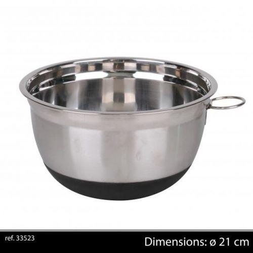 21Cm Chrome Mixing Bowl With Non Slip Base Black