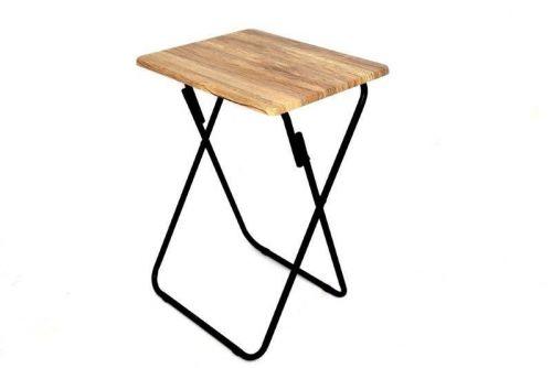 48X66 Oak Style Wooden Folding Table Steel Frame