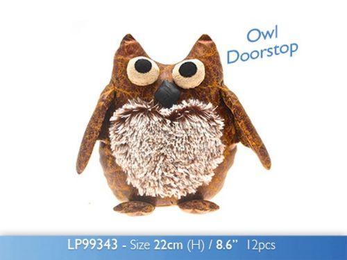 Faux Leather Owl Doorstop Stuffed Fabric Door Stopper 22cm