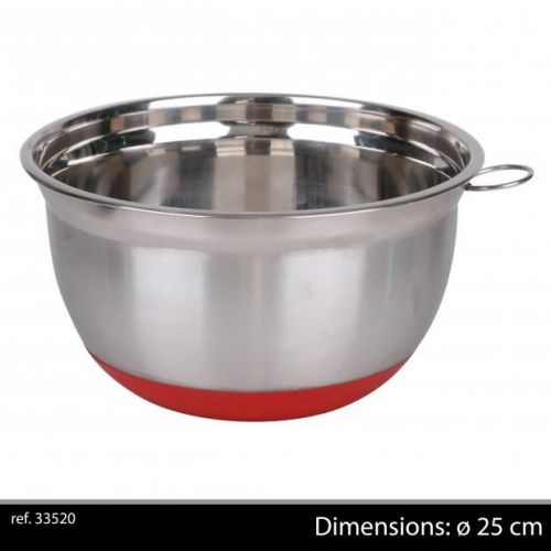 25Cm Chrome Mixing Bowl With Non Slip Base Red