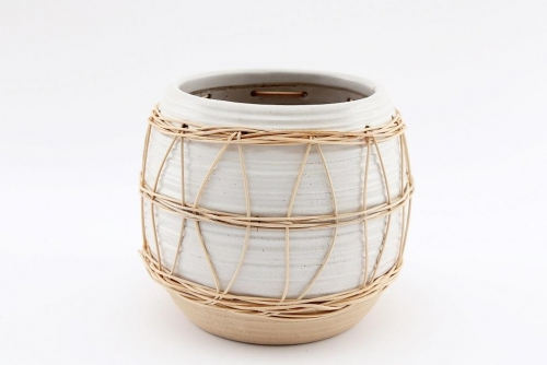 Natural Interior Planter With Rattan