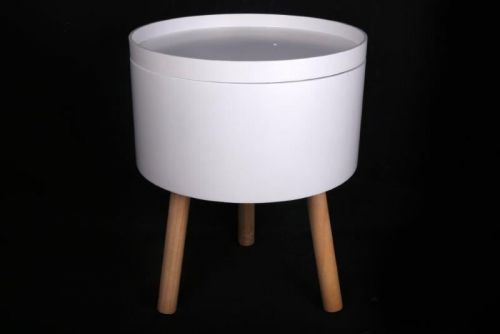 46X37.5Cm Round White Wooden Storage Serving Side Table Decoration Display Stand