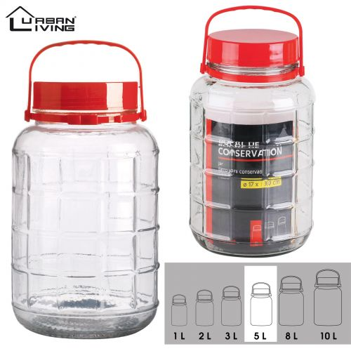 5L Glass Jar Food Preserve Seal-able Airtight Container With Red plastic lid