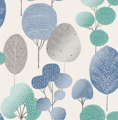 Crown Scandi Forest Tree Metallic Wallpaper Woodland Leaf Blue Teal Shimmer