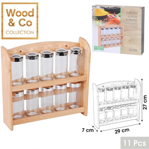 10 Spice Glasses Rack with Wooden Spice Rack Shelf