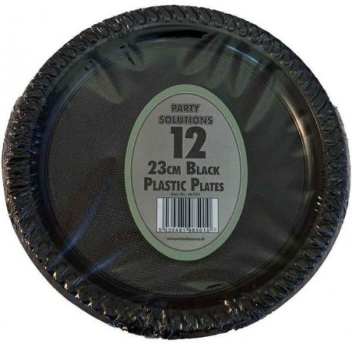 23cm Black Plastic Plates Pack of 12 Disposable for Party Wedding