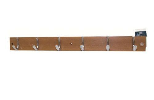 6 Hooks Beech Hook Rail Hat and Coat Rack Pine Clothes Key Hanger