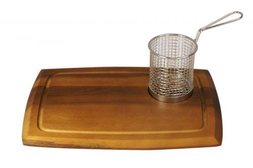Acacia Wooden Serving Board with Circular Recess