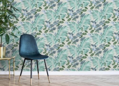 Crown Eden Tropical Leaves Grey Wallpaper
