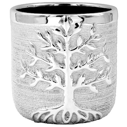 Large Silver Tree Of Life Planter Plant Holder Pot Metal
