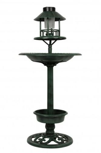 Garden Bird Hotel with LED Solar Light Feeder & Bath Station Ornamental Stand