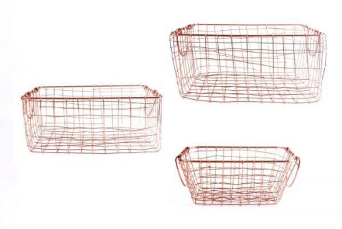 3 Set Rectangle Copper Wire Baskets With Handles Home Kitchen Decoration Crates