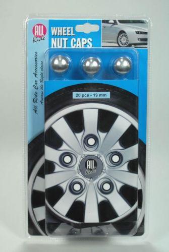 20pcs Car Wheel Nut Caps Bolt Head 19mm Silver Plastic Protectors