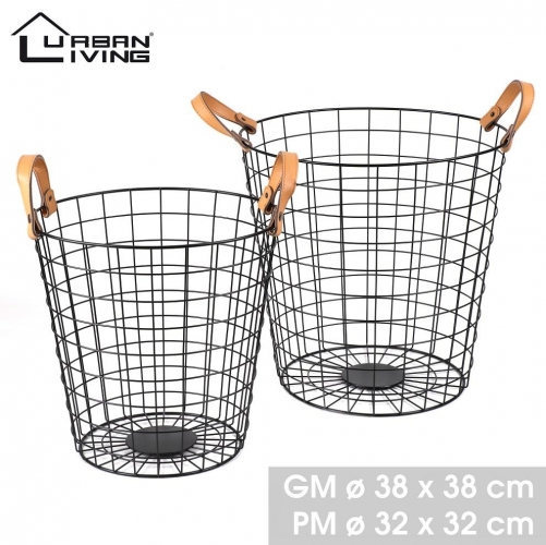 Set of 2 Black Metal Baskets