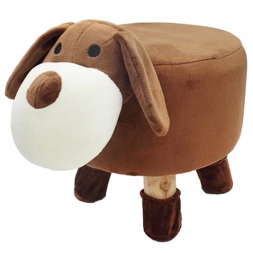 Dog Design Round Stool Wooden Legs Childrens