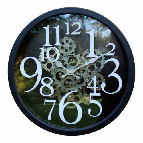 Black Metal Ornamental Moving Gear Novelty Style Wall Hanging Clock 38cm