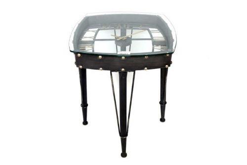 61X53Cm Glass Table Clock Iron Frame Skeleton Clock Side Table