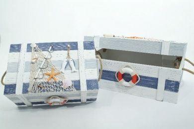 Set of 2 Wood Boxes Sailing Fishnet Seashells
