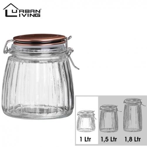 1L Copper Clip Top Tea Coffee Sugar Preserving Glass Jar Storage Canister