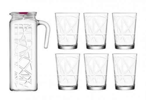 7Pc Glass Set 6 X 20Cl Glasses 1 X Glass Jug 1,2L