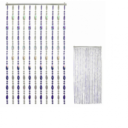 Cream and Purple Plastic Bead Curtain