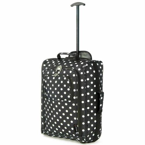 5 Cities Black polka Dot Lightweight Trolley Bag