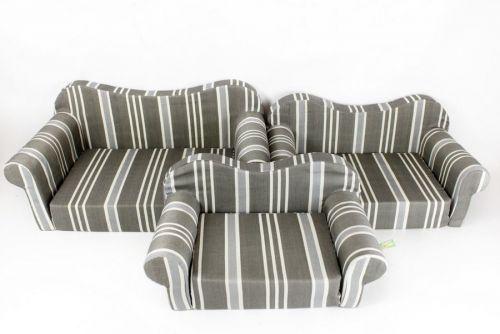 Set Of 3 Grey Stripe Pet Sofas Fabric Comfortable