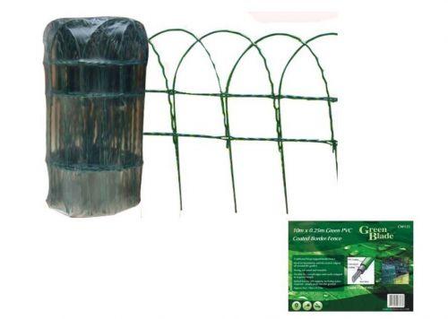 10m X 0.25m Green PVC Coated Border Fence Garden Edging Fencing Net