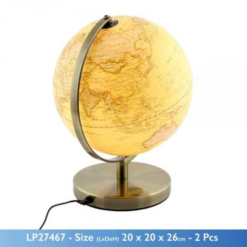 20 Cm Vintage Style World Map Globe With Light Ornament On A Metal Base