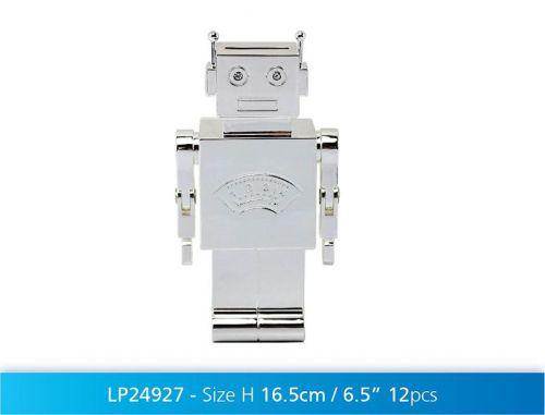 Silver Plated Robot Money Box Coin Cash Piggy Bank Baby Novelty Gift