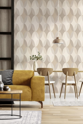 Crown Kirby Oval Geometric Natural Wallpaper