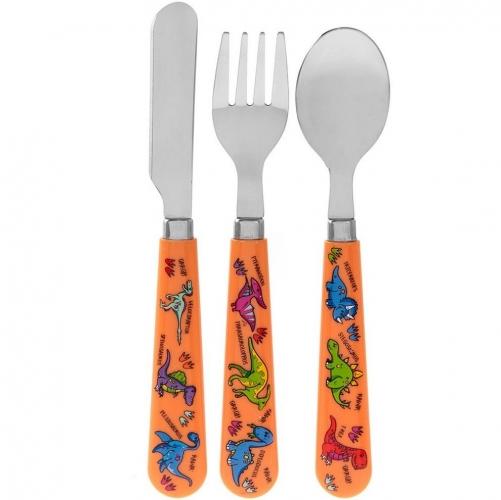 3 Piece Dinosaur Plastic Spoon Fork Knife Kids Children Cutlery Set