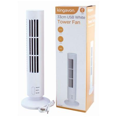 33CM USB White Tower Fan Kingavon