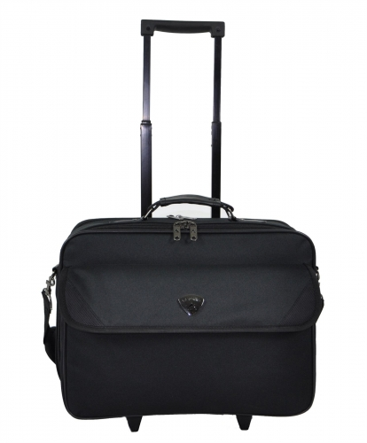 17 inch Black Laptop Trolley Bag with File Pocket