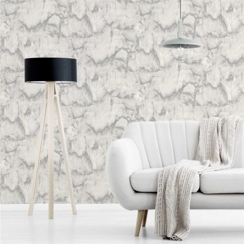 Crown Aura Marble Silver Wallpaper 52cm x 10.05m