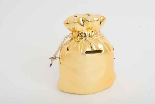 Large Ceramic Gold Bag With Rope Ties Money Saving Box