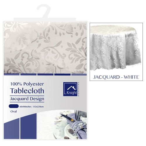 60X90Inches Oval Polyester Table Cover White Jacquard Design