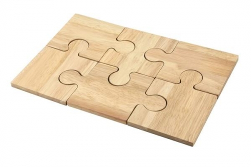 6 Piece Wooden Jigsaw Table Protecting Coaster