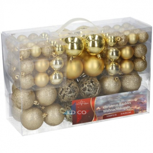 Pack of 100 assorted Christmas balls gold Christmas Gifts