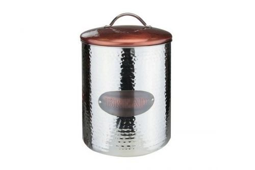 Copper Canister Bread Ideal For Storage Cookies Bread Pancakes Home Or Restaurant Display With Lid Silver And Cooper Finish 27 Cm(H)X20 Cm(D)