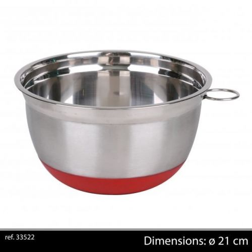21Cm Chrome Mixing Bowl With Non Slip Base Red