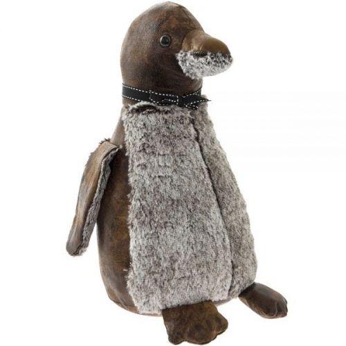 Heavy Penguin Decorative Fabric Doorstop Brown And Grey 35Cm