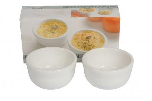 2 Piece Ramekin Set White Porcelain Serving Bowls