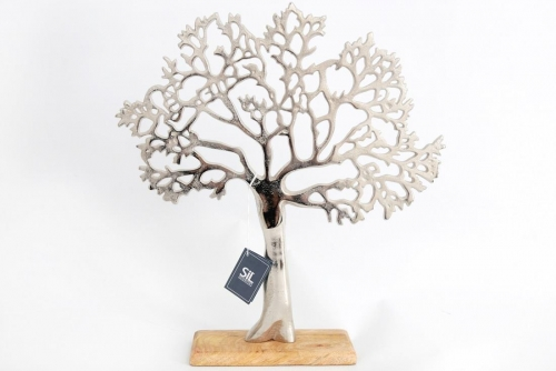 Silver Metal Tree Decorative Ornament On Wooden Base 38.5x42cm