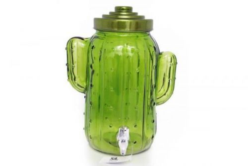 31Cm 5L Cactus Shape Glass Drink Dispenser Tropical Theme
