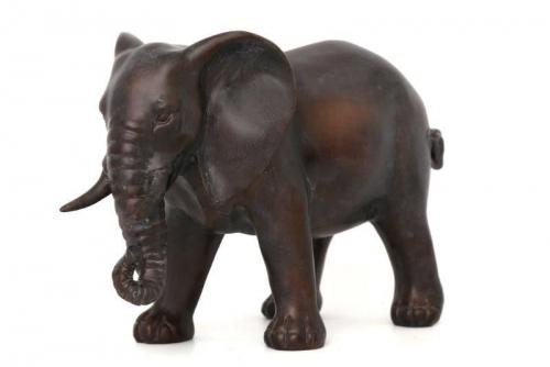 32Cm Bronze  Colour Standing Elephant Home Office Decoration